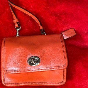 Coach Legacy Leather mini crossbody Vermillion